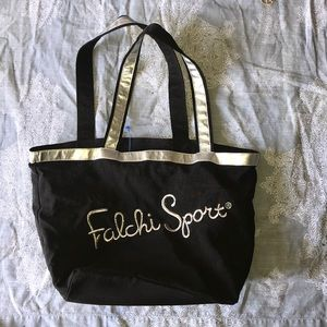 Falchi Sport tote shopper black silver XL vintage